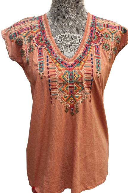 Item - Rust Verena Deep Scoop T-shirt Embroidered Tunic Size 2 (XS)