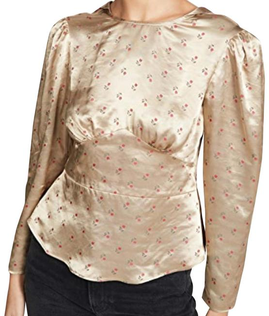 Item - scattered Tulips Paneled Satin Blouse Gold Red Green Top