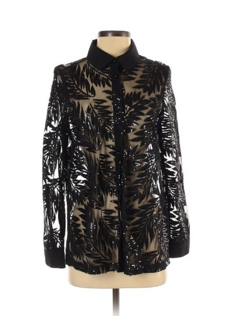 Item - Black Beaded/Sequin Burnout Sheer Button-down Top Size 6 (S)
