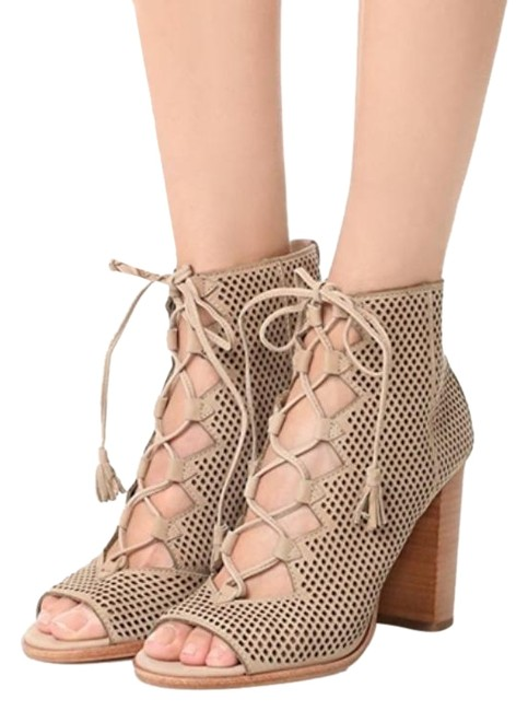 Item - Taupe Tan Gabby Perf Ghillie Lace-up Peep-toe Bootie Sandals Size US 10 Regular (M, B)