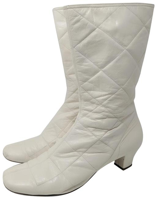 Item - Cream Quilted Go Go Boots/Booties Size EU 41 (Approx. US 11) Regular (M, B)