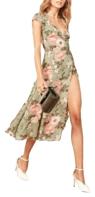 Item - Green Pink Athena Print Gwenyth Mid-length Cocktail Dress Size 4 (S)