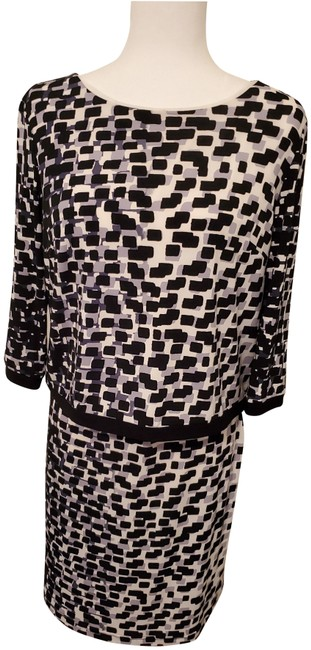 Item - Blk White Gray Collection Mid-length Work/Office Dress Size 10 (M)