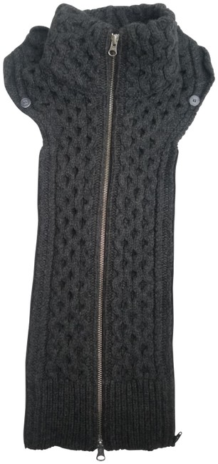 Item - Charcoal Grey Upstate Cable Knit Zip Dickey with Gauntlet Cuffs Scarf/Wrap
