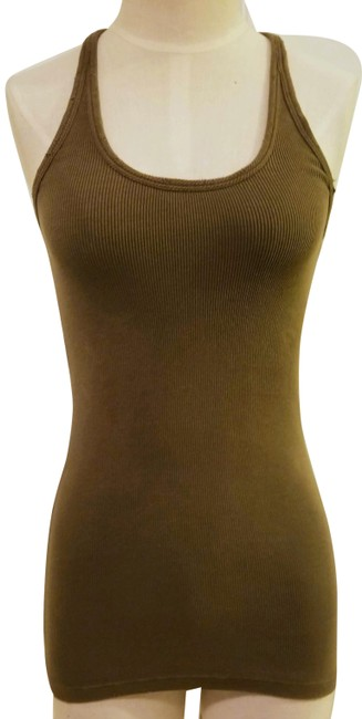 Item - Olive Green Stretch Ribbed Long Line Racerback Tank Top/Cami Size 4 (S)