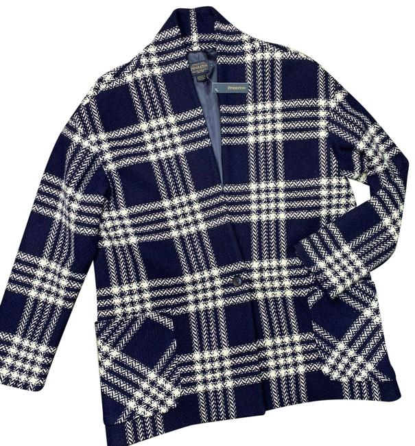 Pendleton Blue Collarless Plaid Virgin Large Coat Size 12 (L) Pendleton Blue Collarless Plaid Virgin Large Coat Size 12 (L) Image 1