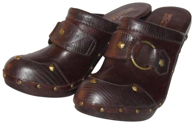 Item - Brown Leather/Gold Mules/Slides Size US 7 Regular (M, B)
