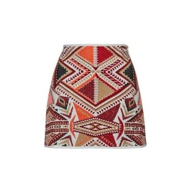 Item - Multi-color Tribal Embroidered Jacquard Skirt Size 6 (S, 28)