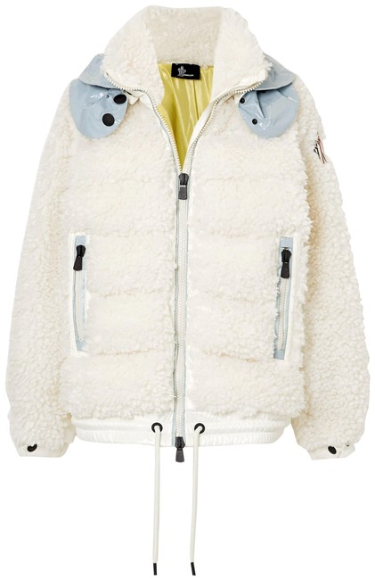 Item - White Grenoble Maglia Hooded Shell-trimmed Faux Shearling Down Vest Coat Size 12 (L)