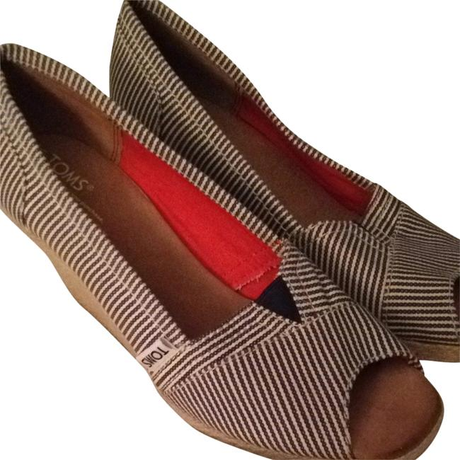 Item - Pinstriped White & Blue Wedges Size US 8.5 Wide (C, D)