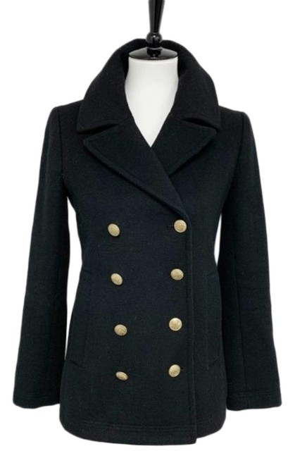 Item - Black Gold Double Breasted Wool Blend Coat Size 2 (XS)