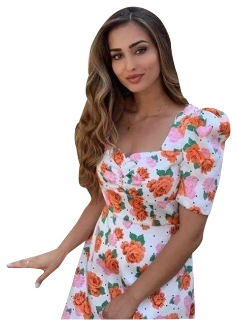 Item - White Floral Print Puffy Sleeves Mid-length Short Casual Dress Size 8 (M)