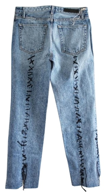 Item - Blue Distressed Renn Loose Thoughts Crop Straight Leg Jeans Size 26 (2, XS)