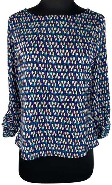 Item - Multicolor XS Patterned Long Roll Tab Sleeves Blouse Size 2 (XS)
