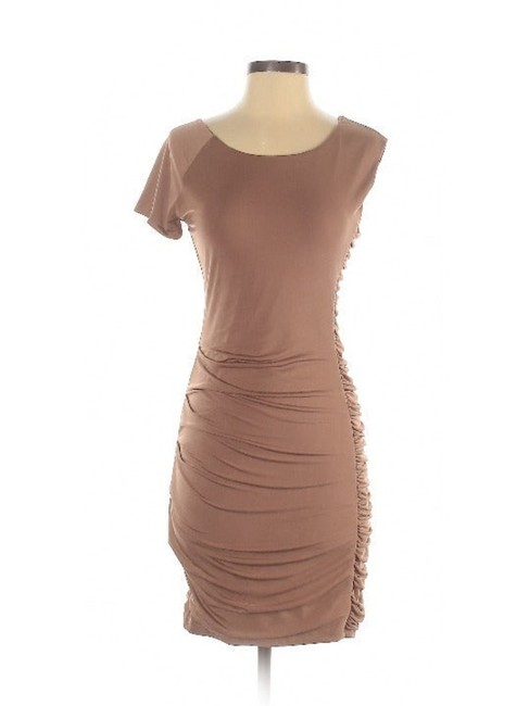 Item - Tan/Brown Ruched Bodycon Asymmetric Short Night Out Dress Size 6 (S)