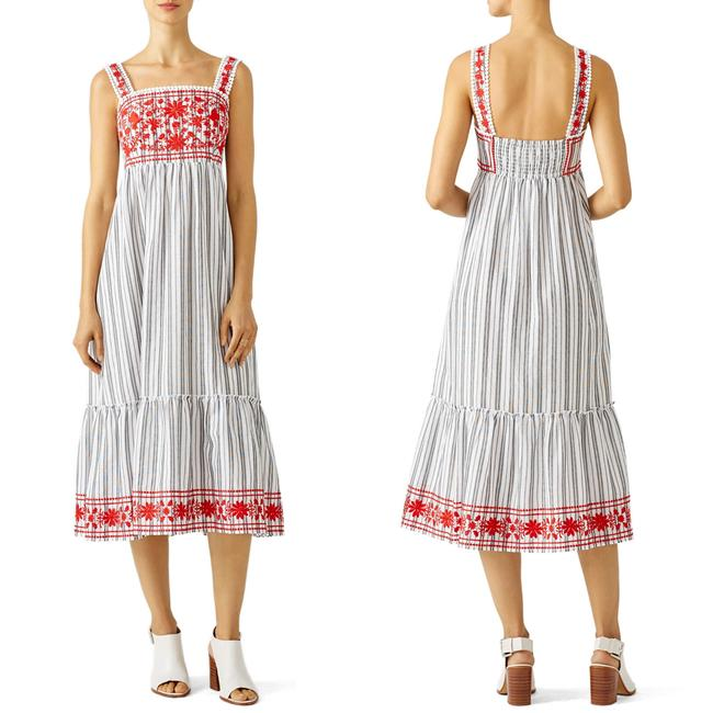 Item - Red Embroidered Stripe Grey Sundress S M Mid-length Casual Maxi Dress Size 4 (S)