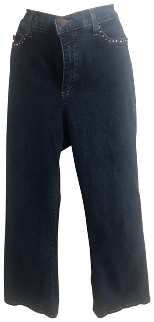 Item - Blue Dark Rinse With Rhinestones Relaxed Fit Jeans Size 12 (L, 32, 33)