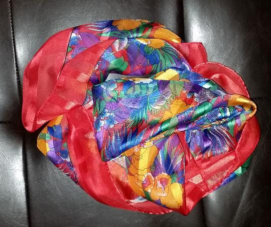 "Other Multi-color Floral Scarf, 30"" square"