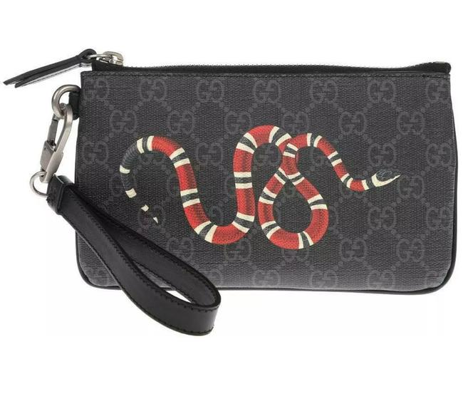 Item - Clutch New Gg Supreme Snake Embroider Zipper Phone Case Black Gray Canvas Leather Wristlet