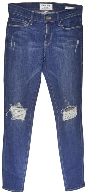 FRAME Blue Distressed Le De Jeanne In Walgrove Destroyed Skinny Jeans Size 25 (2, XS) FRAME Blue Distressed Le De Jeanne In Walgrove Destroyed Skinny Jeans Size 25 (2, XS) Image 1