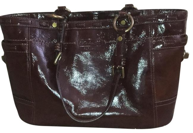 Item - Chocolate Brown Patent Leather Tote