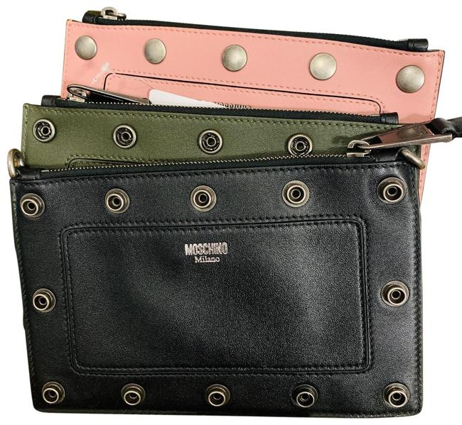 Moschino Pouches Convertible Crosby Black/Green/Pink Leather Cross Body Bag Moschino Pouches Convertible Crosby Black/Green/Pink Leather Cross Body Bag Image 1