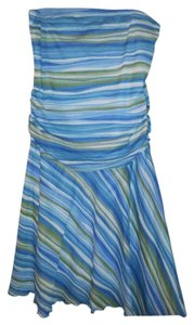 Xhilaration Blue Green Striped Strapless Dress
