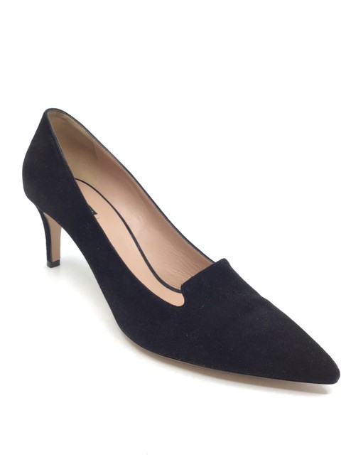 Item - Black Suede Pointed Toe Kitten Heel Pumps Flats Size US 7.5 Regular (M, B)