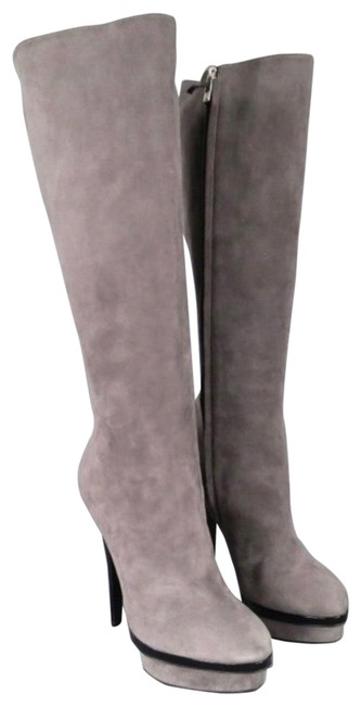 Item - Grey Yves Stacked Platform Suede Knee Boots/Booties Size EU 38.5 (Approx. US 8.5) Regular (M, B)