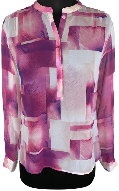 Item - Pink Abstract Print Popover Blouse Size 4 (S)