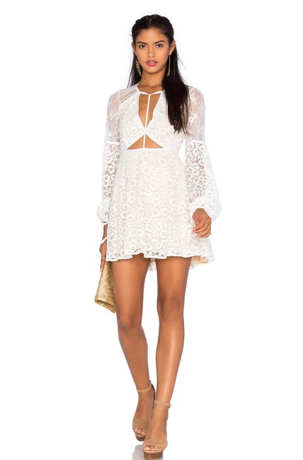 Item - White X Revolve Daisy Lace In Butter Cream Short Cocktail Dress Size 4 (S)