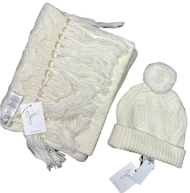 Item - Ivory Cable Knit Macia Beanie Madlyn Fringe Scarf/Wrap