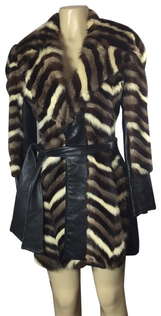 Item - Multicolor And Leather Coat Size 6 (S)