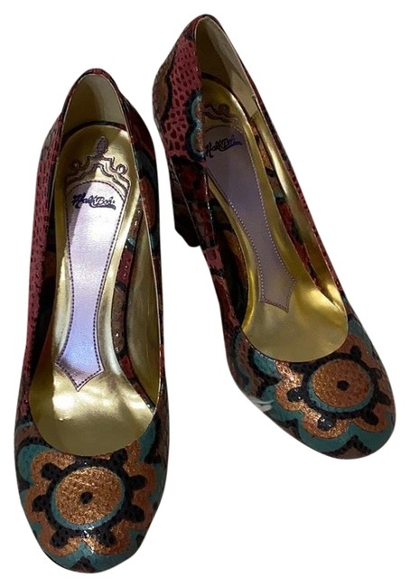 Item - Multicolored Snakeskin Flower Design Pumps Size US 6 Regular (M, B)