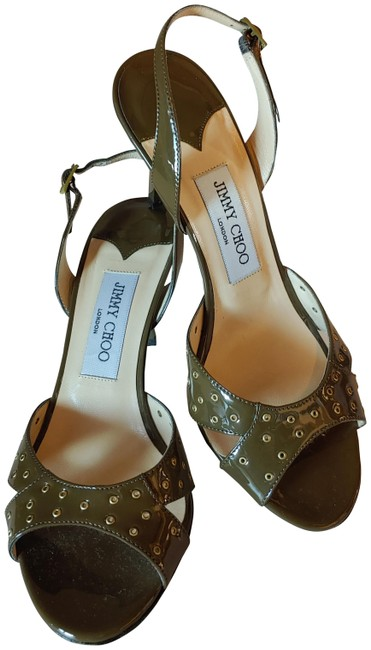 Item - Khaki Eyelet Grommet Sling Back Formal Shoes Size EU 37.5 (Approx. US 7.5) Regular (M, B)