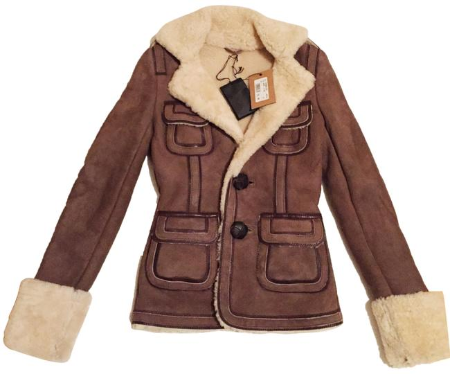 Dsquared2 Brown Shearling Jacket Coat Size 2 (XS) Dsquared2 Brown Shearling Jacket Coat Size 2 (XS) Image 1
