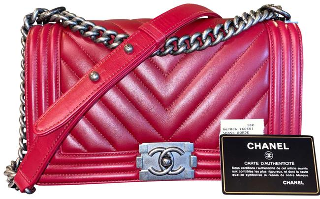 Chanel Boy Chevron Red Lambskin Leather Shoulder Bag Chanel Boy Chevron Red Lambskin Leather Shoulder Bag Image 1