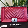Chanel Boy Chevron Red Lambskin Leather Shoulder Bag Chanel Boy Chevron Red Lambskin Leather Shoulder Bag Image 2
