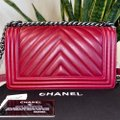 Chanel Boy Chevron Red Lambskin Leather Shoulder Bag Chanel Boy Chevron Red Lambskin Leather Shoulder Bag Image 3