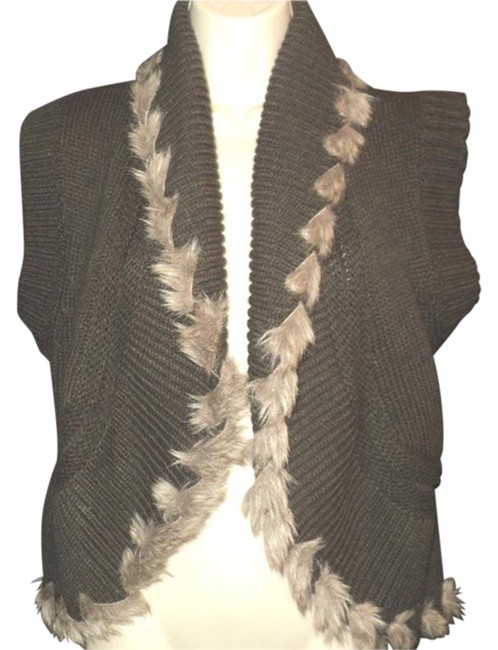 Item - Brown/Olive Green/Gray Shawl Collar Single Hook & Eye Closure Faux Fur Trim Vest Size 10 (M)