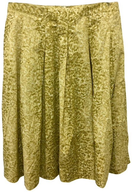 Item - Green Pleated Pocketed Leopard Print Skirt Size 8 (M, 29, 30)