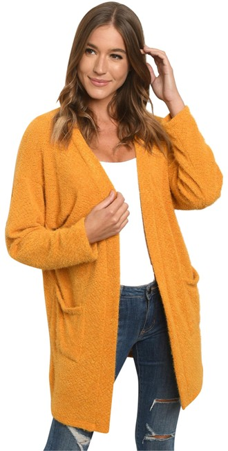 Item - Mustard Soft Open Front with Pockets Cardigan Size 4 (S)