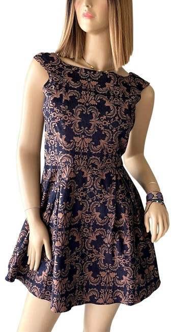 Item - Navy Blue and Coral Women's Paisley Print Puffed Fitted Waist Short Cocktail Dress Size 4 (S)