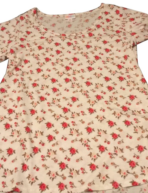 Item - White with Floral Print Classic Tee Tunic Size 10 (M)