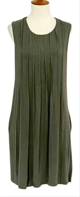 Item - Olive Green Sleeveless Pleated Swing Mid-length Work/Office Dress Size 10 (M)