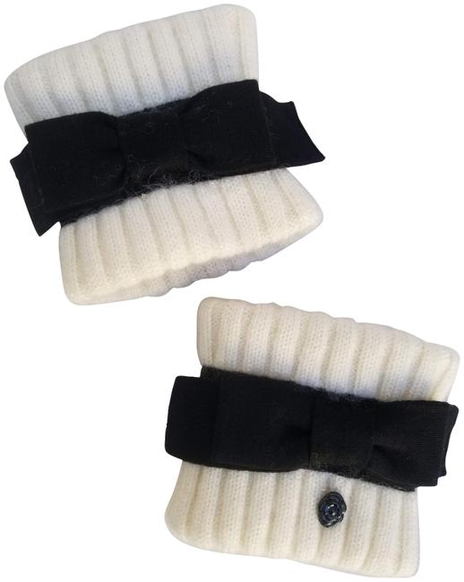 Item - Ivory / Black With Bow Cashmere Wool Mohair Wrist Gauntlets