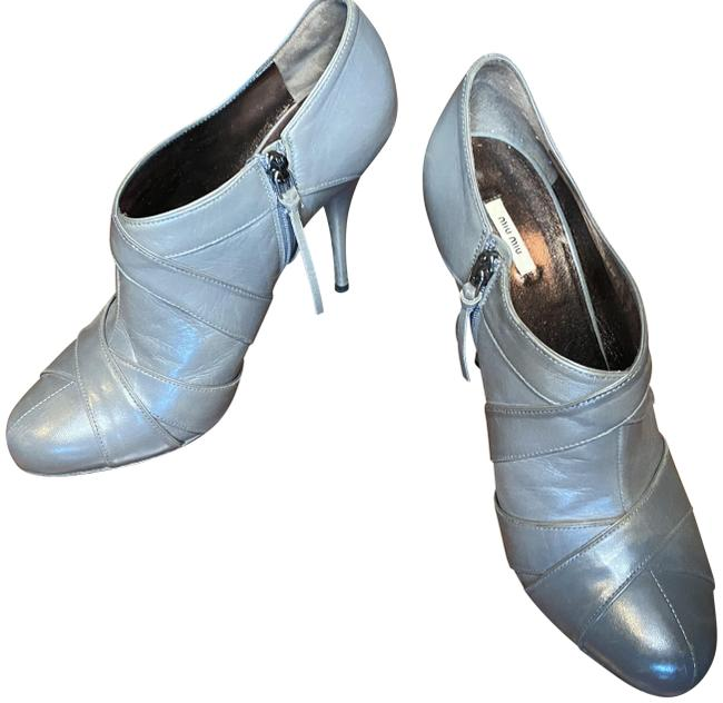 Item - Gray Leather Boots/Booties Size EU 39.5 (Approx. US 9.5) Regular (M, B)