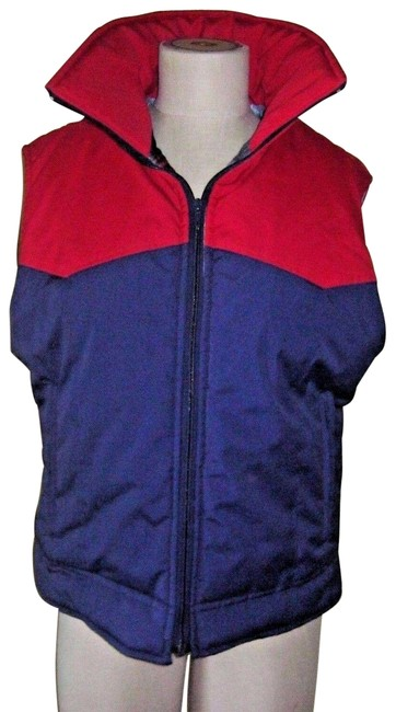 Item - Red & Blue Mrs Duckworth Full Zip Up Plaid Flannel Lined Western Colorblock Vest Size 12 (L)