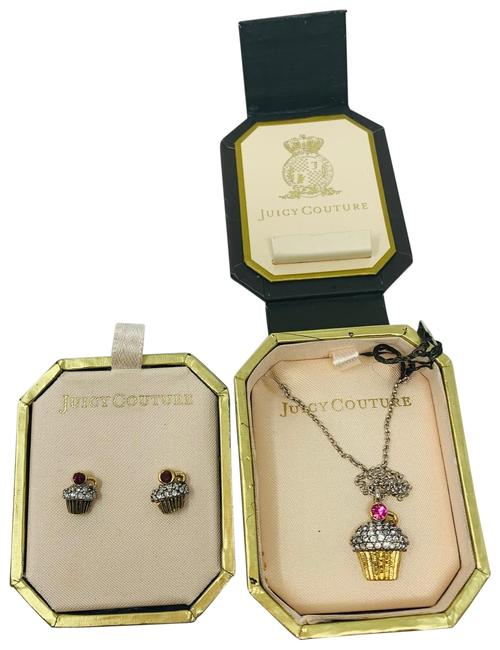 Item - Gold Pink Red Cupcake Rhinestone and Earring Set Necklace