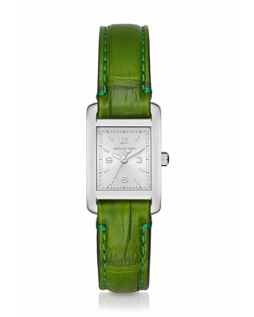 Item - Green Womens Silver Stainless Steel Crocodile Leather Taylor Mk2416 Watch